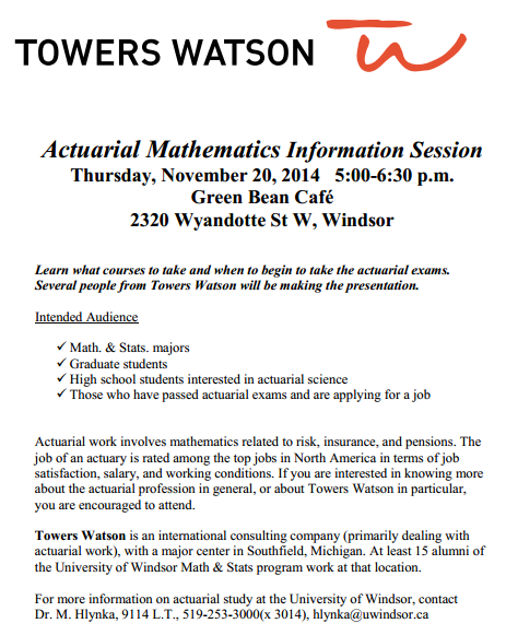So You Want to Be an Actuary? | University of Windsor Mathematics ...