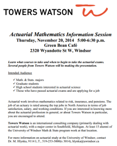 Towers Watson Actuarial Mathematics Information Session